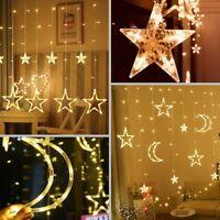 Star Moon Fairy Lights Led Curtain String Light Xmas Wedding Lamp 8 Modes 220V