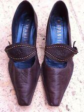 Escarpins chaussures Cuir Hyspanita T 38 marron/chocolat talon cuir 4 cm TTBE