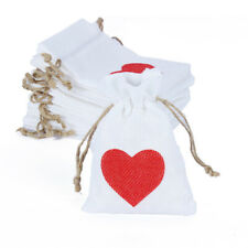 24pcs 10x14cm Red Heart Burlap Jute Candy Bag Pouch Baby Shower Wedding Gift Bag