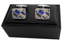 Emaille Manschettenknöpfe lapisblau cremeweiss grau dunkelbraun + Box MK0648