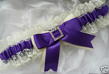 WEDDING GARTER PURPLE SATIN AND IVORY LACE CREAM DIAMANTES SQUARE HEART BRIDE