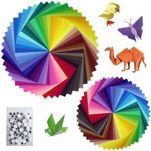 Lot de 200 Feuilles de Papier Origami (2 tailles) de 50 Couleurs Vives