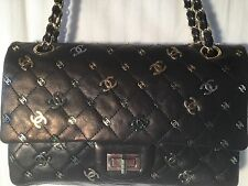 RARE CHANEL Black lambskin Logo purse,gold chain, Quilted