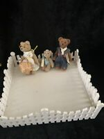 Cottage Collectibles Miniature Bear  Kunz ☆ ☆mama, Papa And Baby With Yard