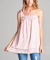 #390 Ladies Designer Size UK 10 Pink Stripe Pom-Pom Split-Back Top Blouse NEW