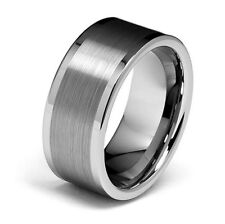 Tungsten Carbide Center Brush 10MM Flat Edge Mens Wedding Band Ring Size 10 M42