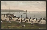 Devon. Plymouth. Hoe Promenade & Sound. Busy with Walkers, Deck Chairs. Postcard
