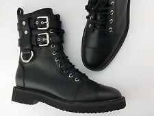 $1750 Giuseppe Zanotti Hilary Lace-Up Combat Boot, Black NEW in BOX in Silky Bag