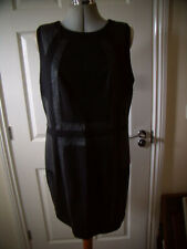 NEW LOOK BLACK PU PVC LOOK PANELS / PATCHES MINI DRESS GOTH WHITBY NEW NWT 18