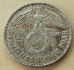 1938 German 2 mark silver coin