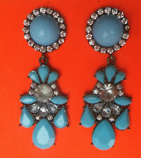 Pretty Retro Turquoise Tone & Clear Crystal Big Drop/Dangle Stud Earrings – UK