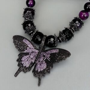 Purple Tiger Eye Round Amethyst Necklace Cubic Zirconia Pave Butterfly Pendant