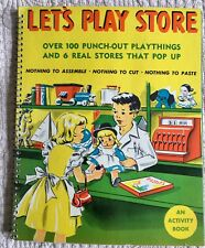 1950 LET'S PLAY STORE Activity Book POP UP with PUNCH OUTS~ RARE!