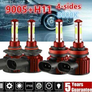 4PCS 4-SIDE Combo 9005+H11 LED Headlight Kit High Low Beam Bulbs ICE BLUE 8000K