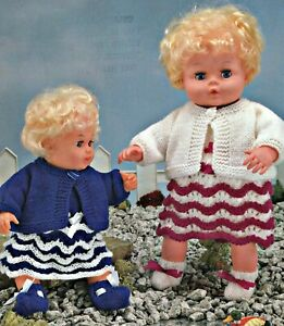 """Knitting Pattern DK or 4 ply Baby Dolls Clothes 12 &16"""" Jacket, Dress, Bootees"""