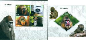 Monkeys Primates Gorilla Wild Animals Fauna MNH stamps set