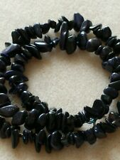 Blue GoldStone Chip Necklace 18 Inches Long