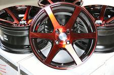 15x8 Red Racing Wheels Rims 4x100 Low Offset Integra Accord Civic Miata Clubman