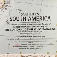 Vintage Southern South America Wall Map National Geographic Society March 1958