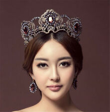 Luxury Huge Baroque Purple Crystal Tiara Crowns Wedding Pageant Bridal Headbands
