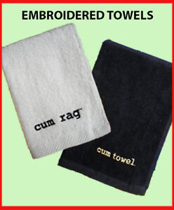 Embroidered Cum Rag Cum Towel White Black Navy Cotton Velour Jizz Spunk Wipe
