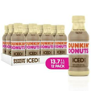 Dunkin' Donuts Iced Coffee French Vanilla 13.7 Fl Oz Rich Smooth Coffee 12 Count