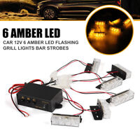 6X3LED Amber Strobe Flashing Emergency Recovery Grille 6 Light Bar 12V Car Truck
