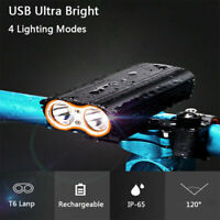 2000 Lumens Bike Front BICYCLE Light USB Rechargeable Super Bright LED Headlight
