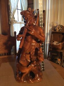 "WOOD CARVED FOLK ART PAN FLUTE/MONKEY/DOG STATUE Large 21"" Tall & A Hefty 11Lbs."