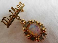 MOTHER Faux OPAL & RHINESTONE DANGLE Brooch vintage jewelry with gold beads