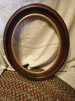"Vintage Antique Oval Shaped Wood Frame 19.25"" x 22.25"" me gold accent"