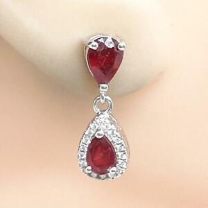 World Class 2.80ctw Mozambique Ruby & Diamond Cut White Sapphire 925 Earrings