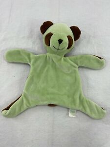 """Green Sprouts Sleeping Teddy Bear Lovey 9"""" Green/Brown Security Blanket Plush"""