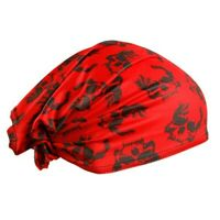 Red Skulls Schampa DOO-Z Headwrap Long Hair Scarf Headwrap Durag Doo Rag Biker