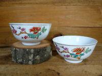 Pair Vintage Chinese Porcelain Soup Noodle Rice Bowls Flowers Gold Trim