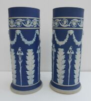 Impressive Pair Wedgwood Jasperware Vases Dark Blue Dip