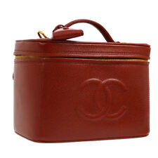 CHANEL CC 2way Cosmetic Vanity Hand Bag Red Caviar Skin Leather AK31543i