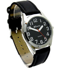 Ravel Mens Super-Clear Easy Read Quartz Watch Black Strap Black Face R0125.03.1