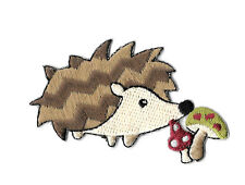 Hedgehog - Hedgie - Mushroom - Forrest - Embroidered Iron On Applique Patch