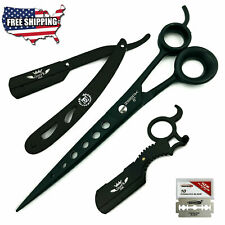 "BARBER SALON 8"" HAIR CUTTING HAIR STYLING SHEAR SCISSOR + SHAVING RAZORS BLACK"