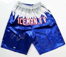 Chuck Liddell Autographed Blue Iceman Custom UFC Trunks - Beckett Auth *Silver
