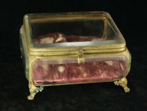 "Large Antique 8"" X 7"" French Jewelry Box Casket - Gilt Ormolu - Beveled Glass"