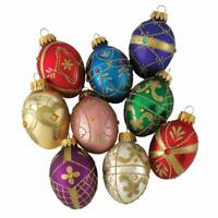 Faberge Inspired Decorative Eggs Glass Christmas Ornaments Set of 9