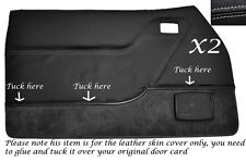 White stitch 2x carte porte peau cuir couvre fits ford mustang 2005-2009