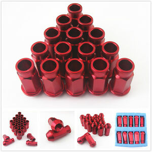 20 Pcs Red Aluminum Tuner Wheel Lug Nut Kit Set M12 x 1.5MM For Mitsubishi Mazda