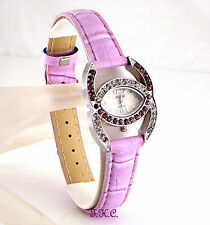 Lilac Pink Designer Kiss Bling Ladies Cocktail Dress Watch w/ Swarovski Crystals