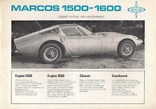 Marcos 1500 & 1600 1967 UK Opuscolo Vendite sul Mercato Opuscolo