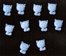 Nouveauté Bleu boutons en forme de kitty x 10-Baby, craft, chaton