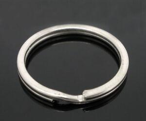20 QUALITY ROUND SILVER TONE KEY SPLIT RINGS /BAG CHARM RING~25mm~Blank (3B)UK