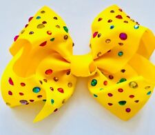 Fancy Boutique Girls Hair clip Bow summer trend Multi Colour Rhinestone (Yellow